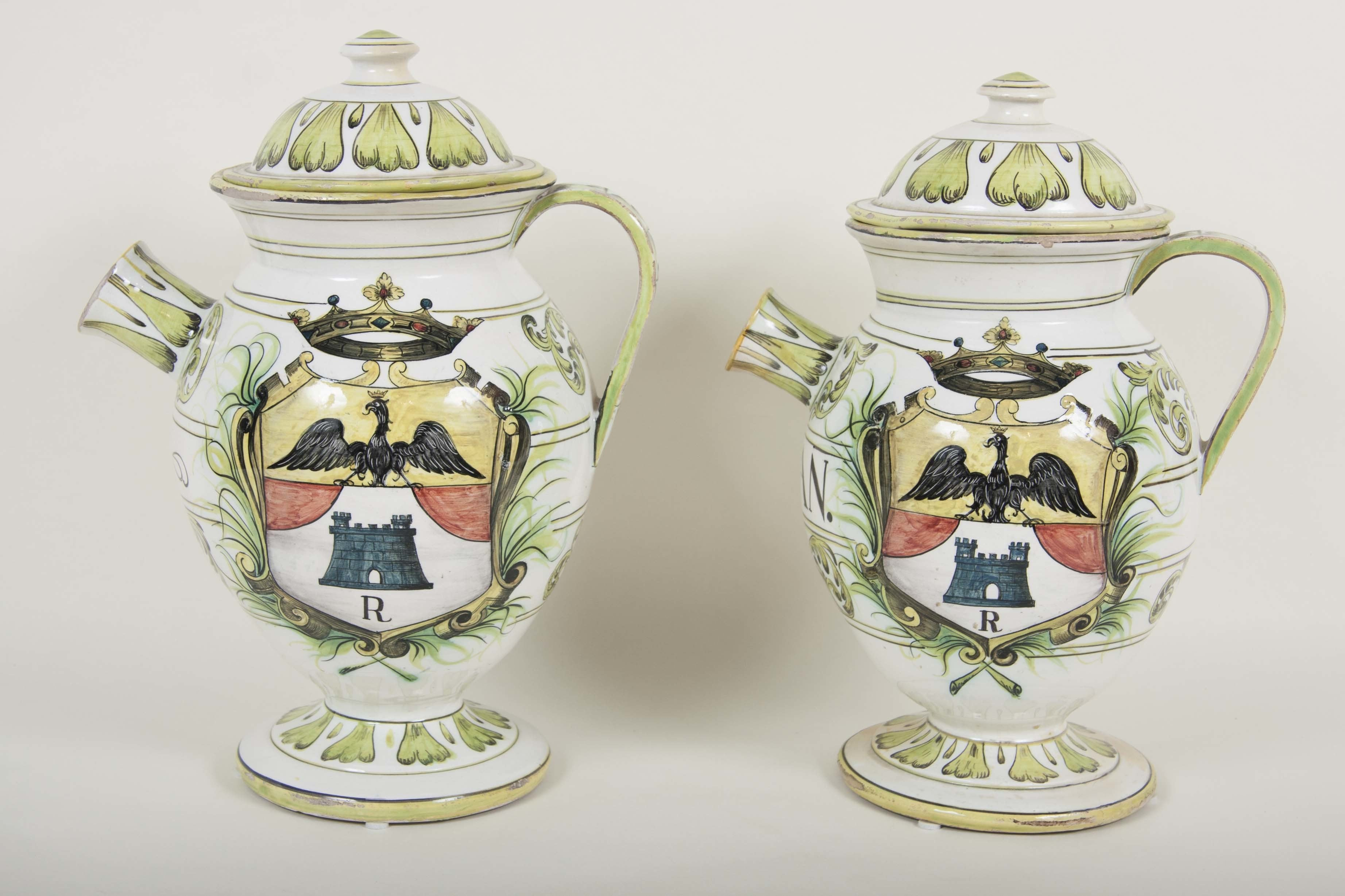 Pair of Majolica Apothecary Jars