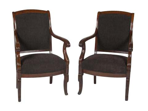 Pair of Charles X Mahogany Fauteuils