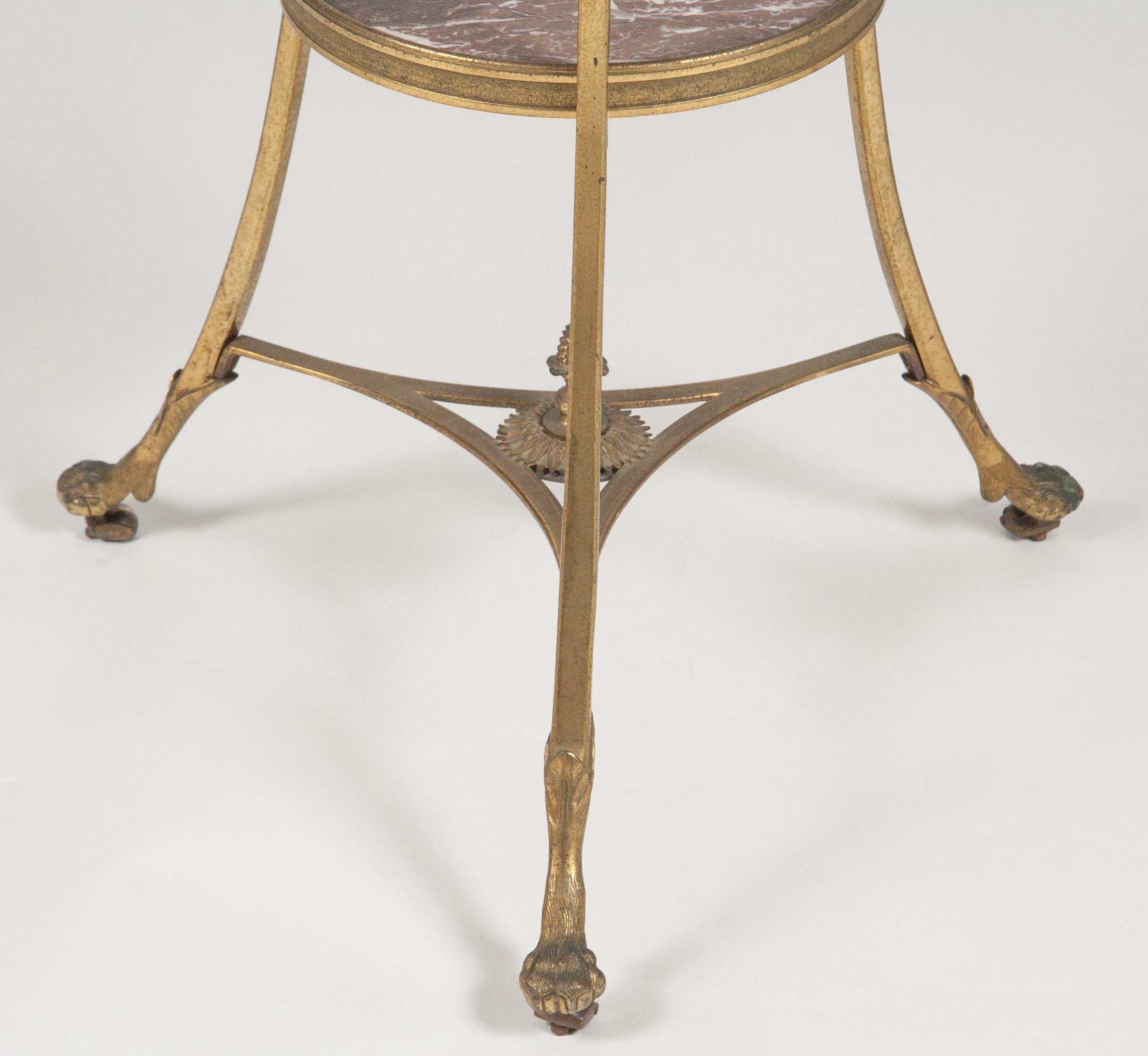 A French Gueridon Table With Marble Top