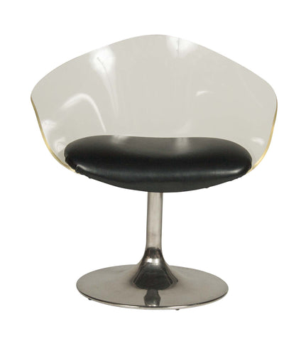 A Mid Century Modern Lucite Knoll Swivel Chair With Chrome base