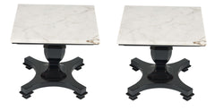 A Pair of Modern Marble Top Side Tables.