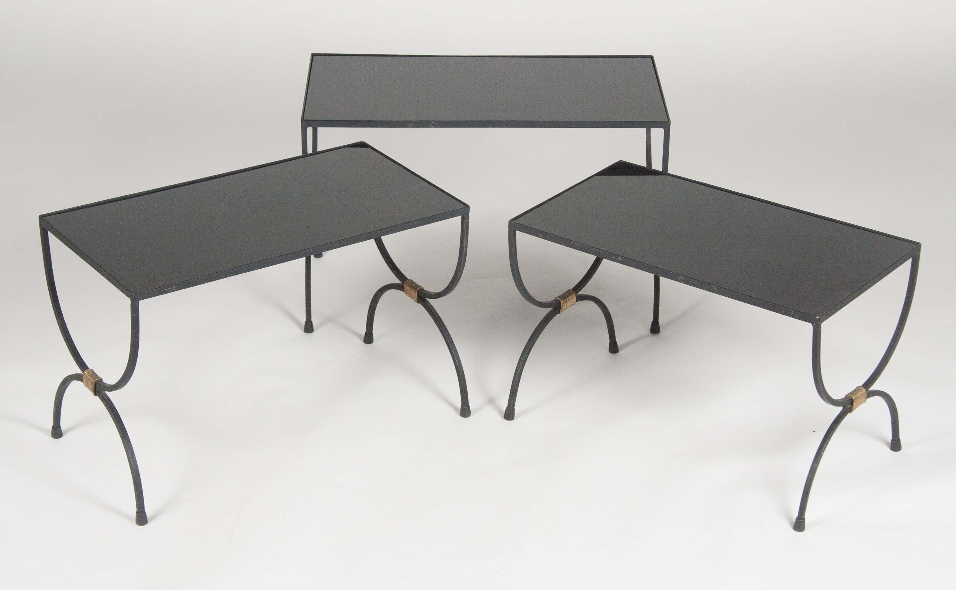 A Set Of 3 Wrought Iron Nesting Tables With Bronze Detail Attributed To  Adnet