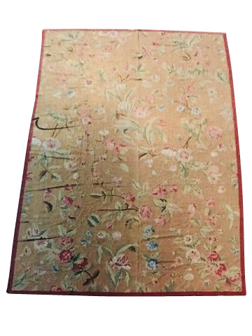 Large Hand Woven Red Aubusson Carpet