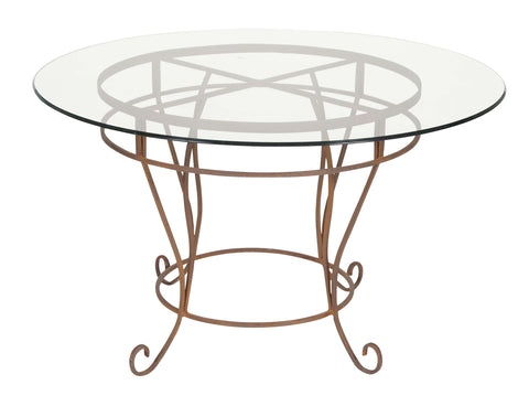 A Glass Top Gilt Metal Round Table