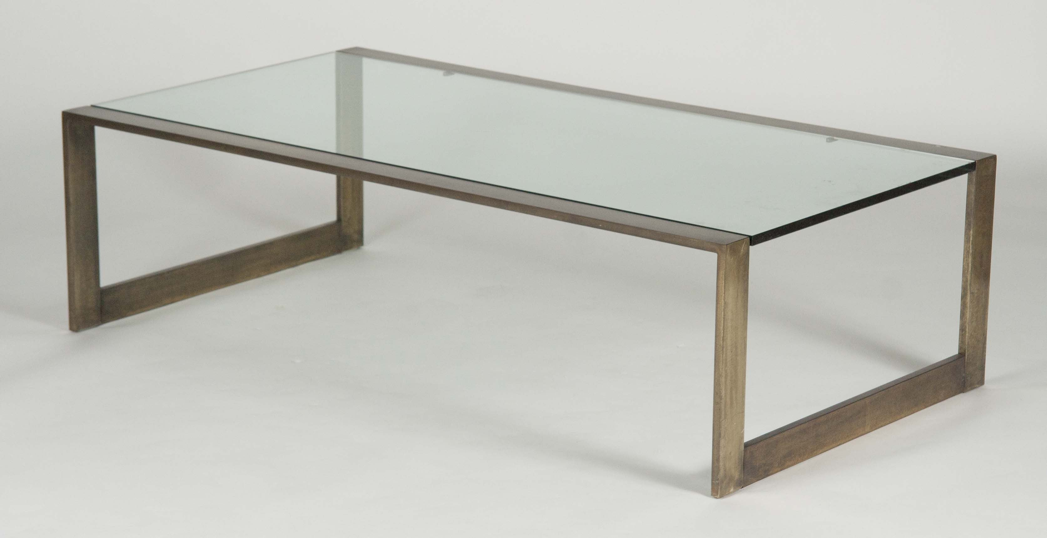 Superbe A Glass Top Bronze Coffee Table Produced By Pace