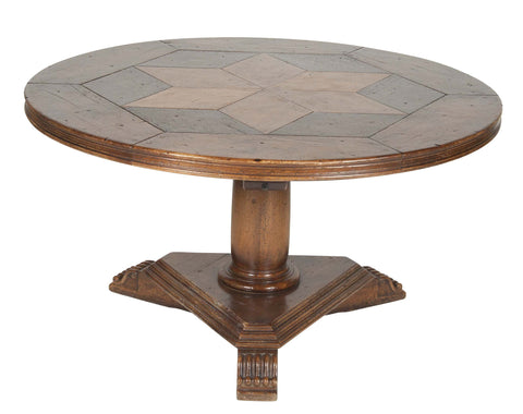 A French Center Table With Star Shaped Parquet Top