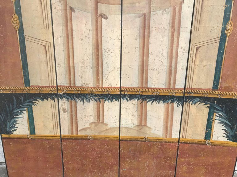 Italian Neoclassical Painted Screen with Pompeian Fresco