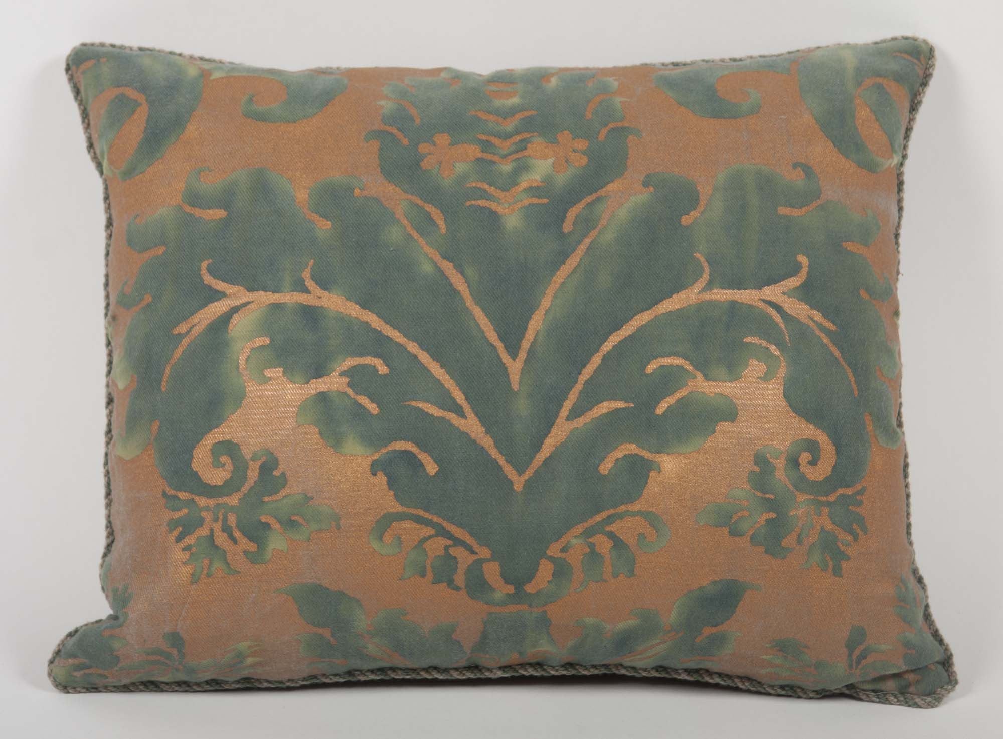 Pillow of Fortuny Fabric with Leather Backing