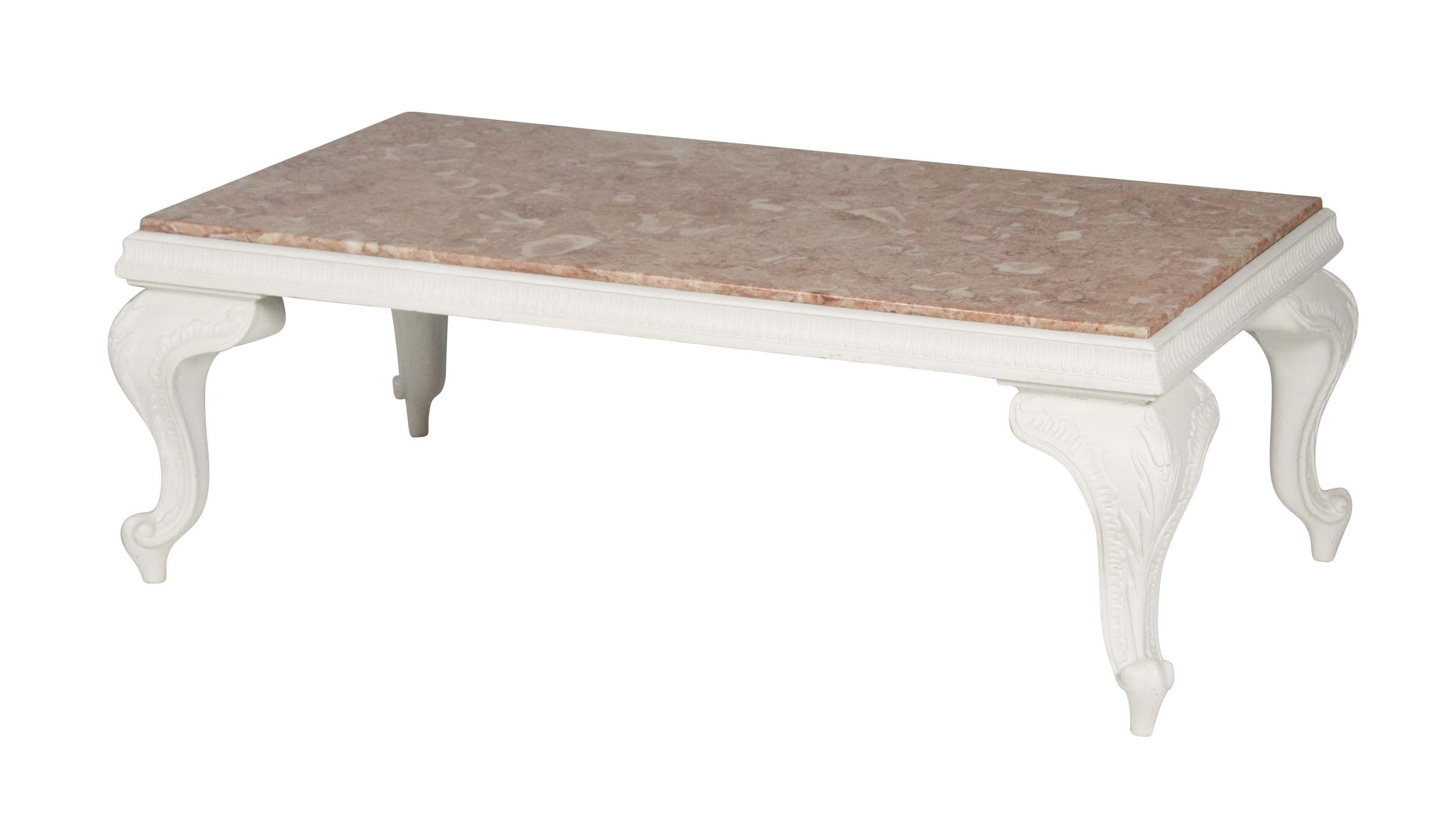 A carved white wood coffee table with pink marble top for White wood coffee table