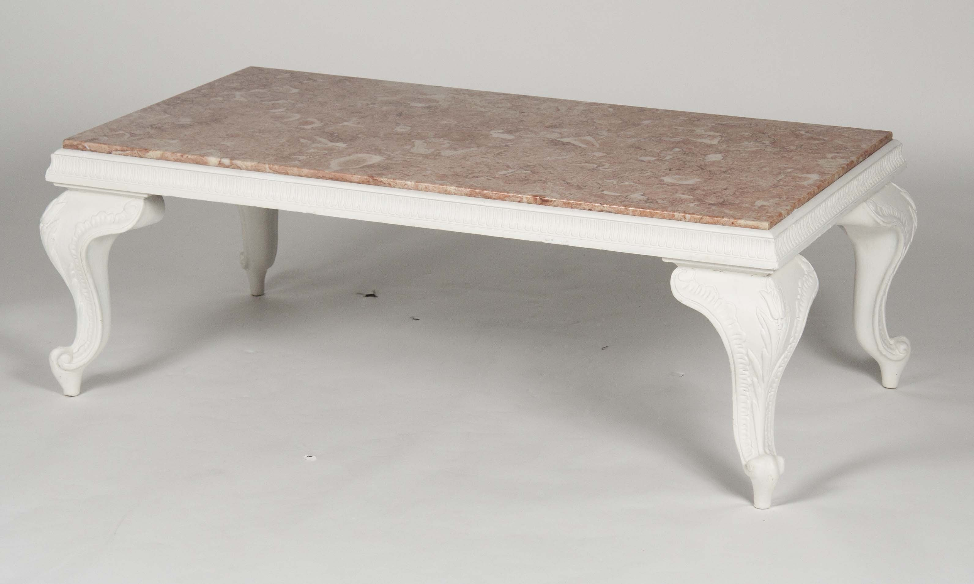 A Carved White Wood Coffee Table With Pink Marble Top – Avery