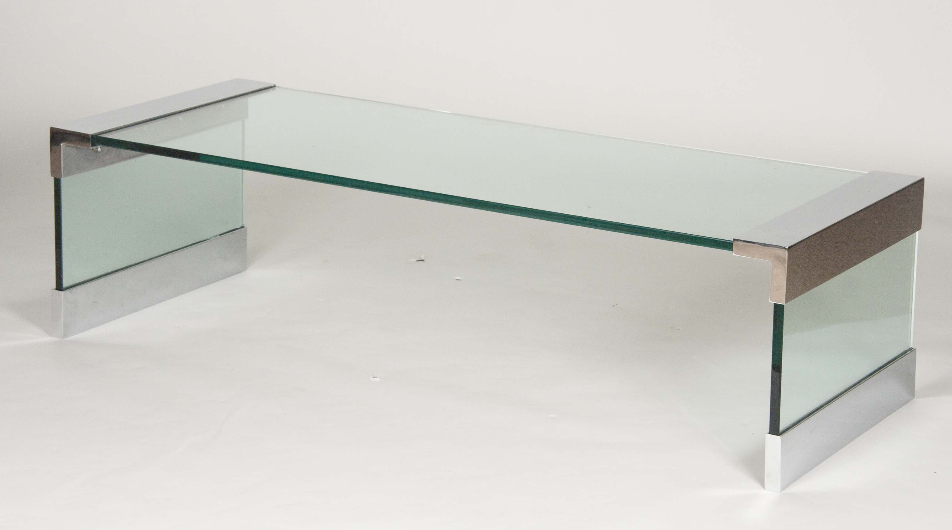 A Knoll Glass Waterfall Coffee Table with Nickel Metal and Glass