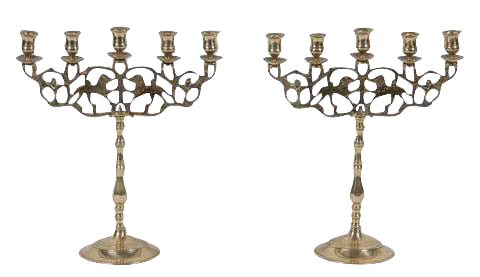 Pair of Five Light Brass Candlesticks