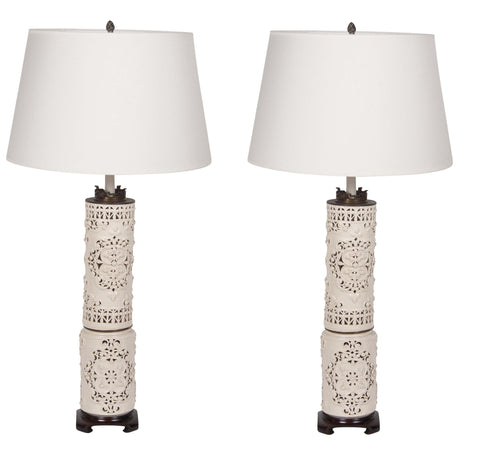 A Pair of Large Pierced White Antique Porcelain Lamps