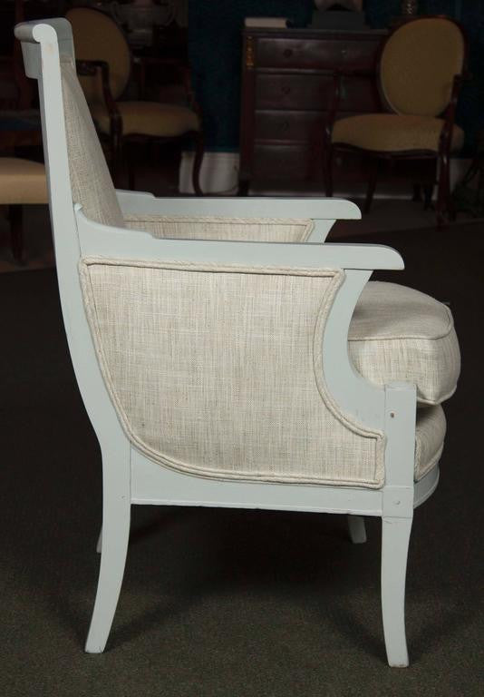 Suite of Painted Bergere, Fauteuil and Footstool