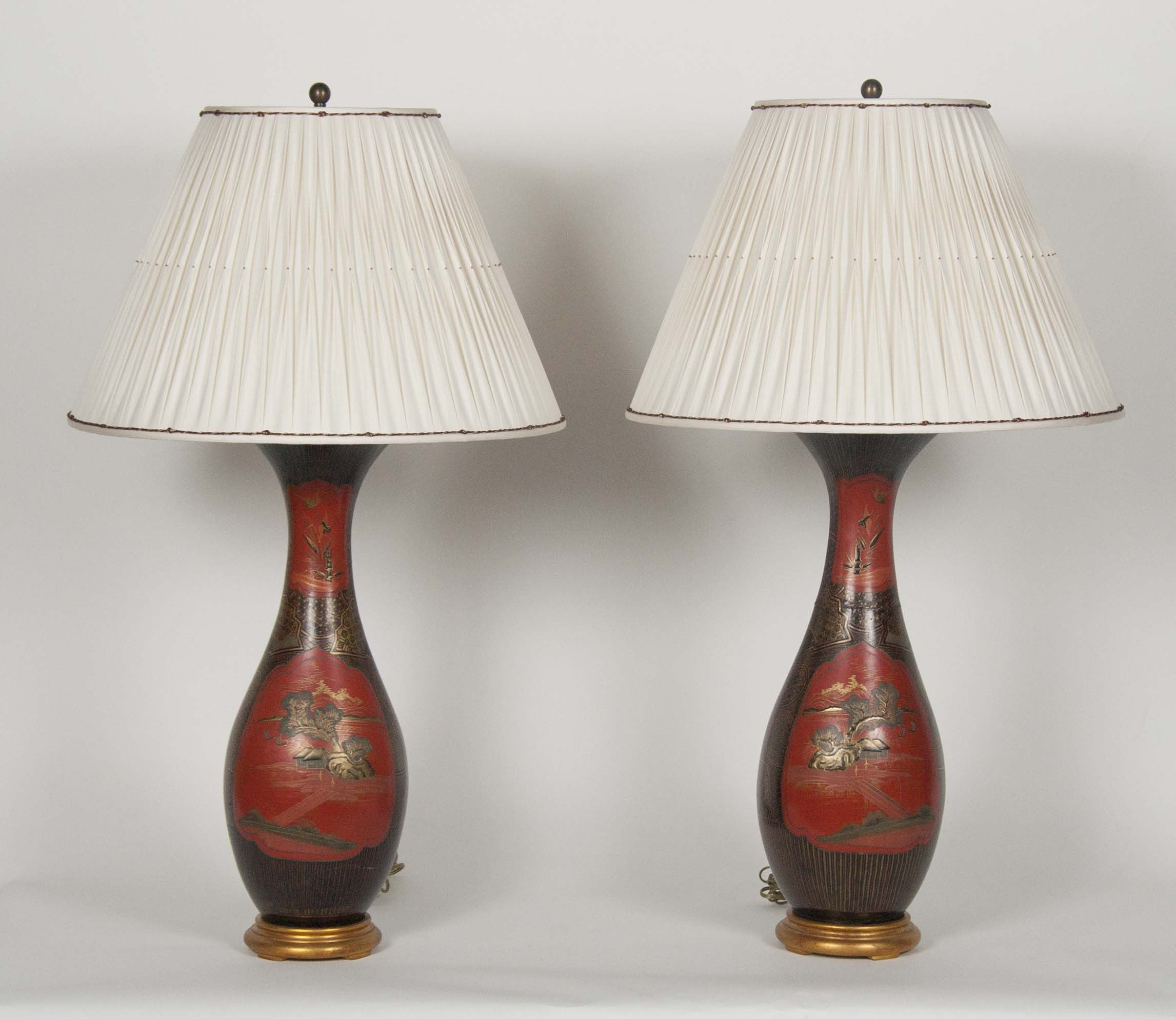 A Pair of large French Chinoisserie lamps
