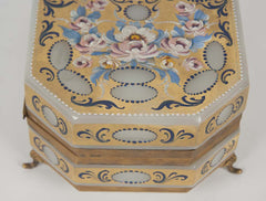 French Opaline Glass Painted Box