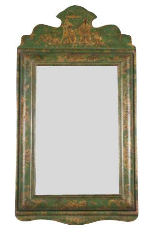 Green Lacquer Chinoiserie Mirror