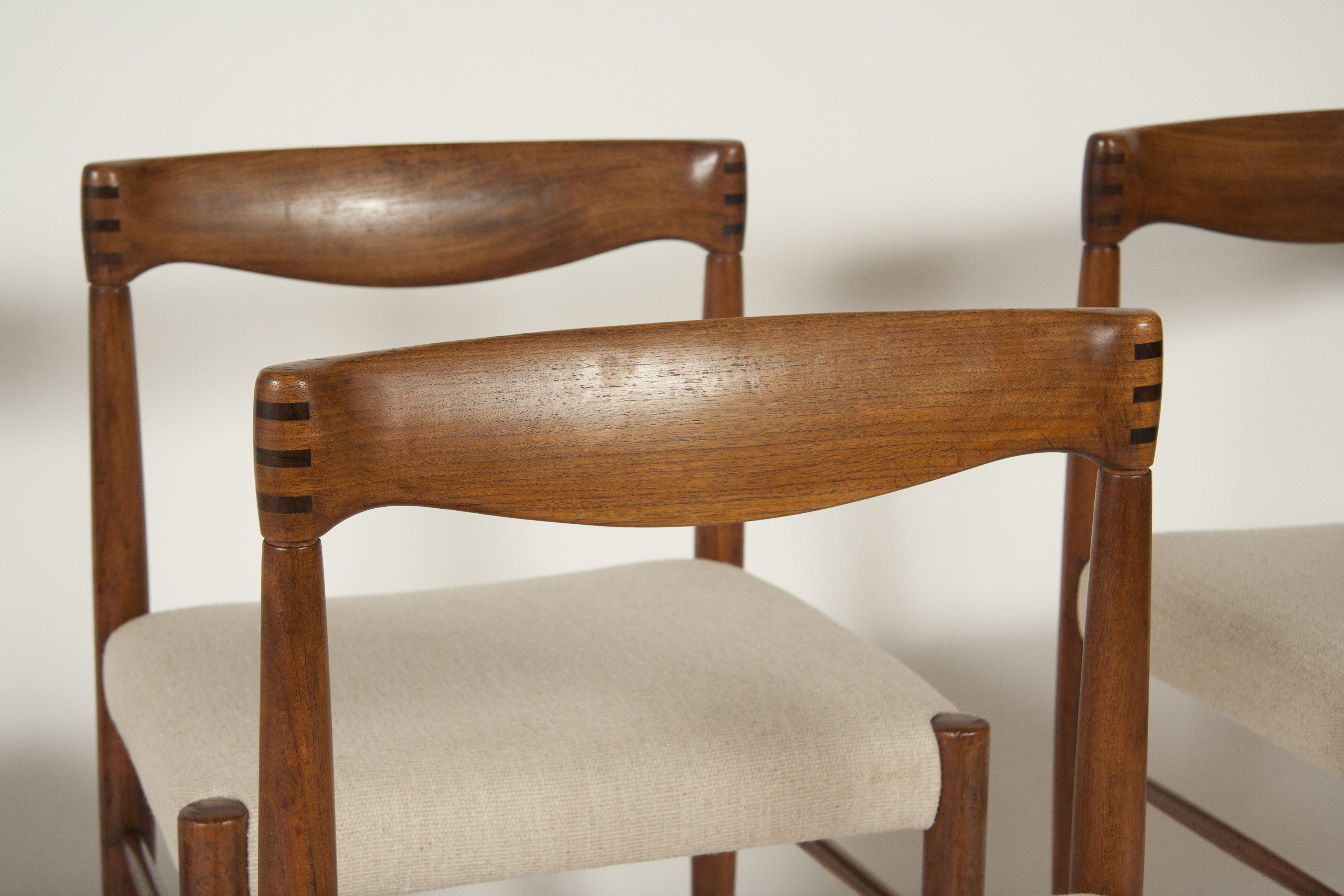 A Set of Four Teak Dining Chairs Designed by H.W. Klein