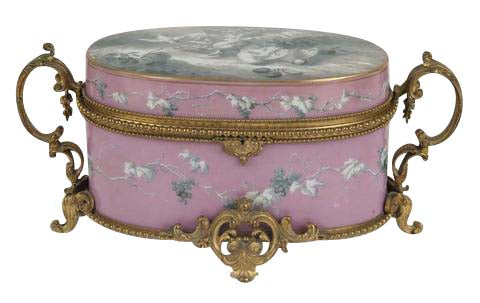 Large French Pink Opaline Box