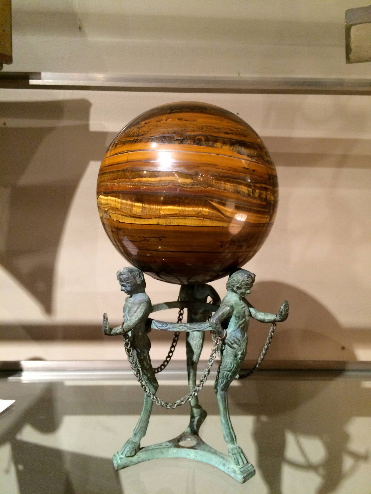 Neoclassical Bronze Tripod Orb and Stand
