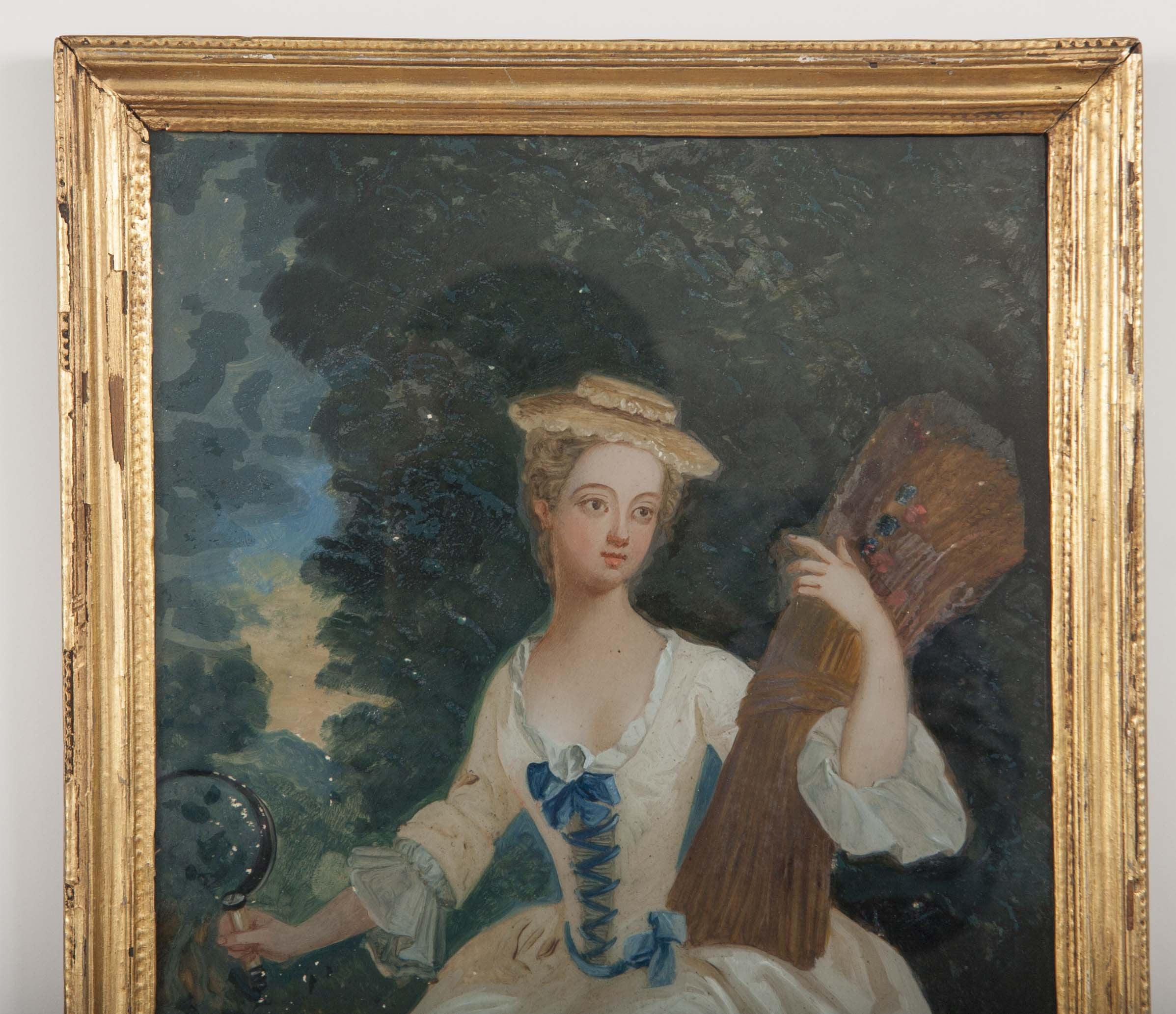 Late 18th Century Pair of English Reverse Glass Paintings