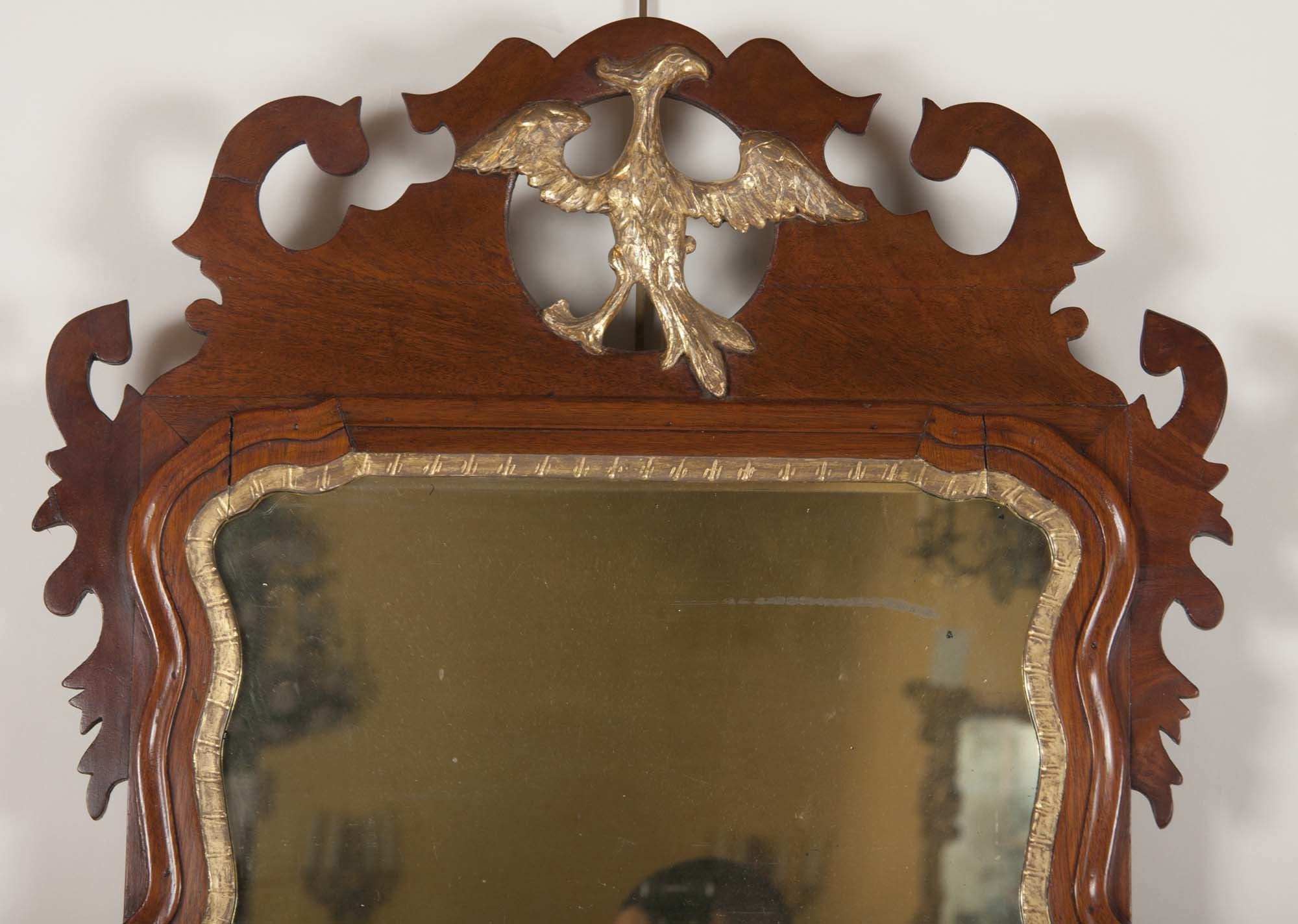Early Queen Anne Pier Mirror with Phoenix Crest
