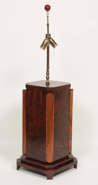 Large Craftsman Burled Mahogany Table Lamp