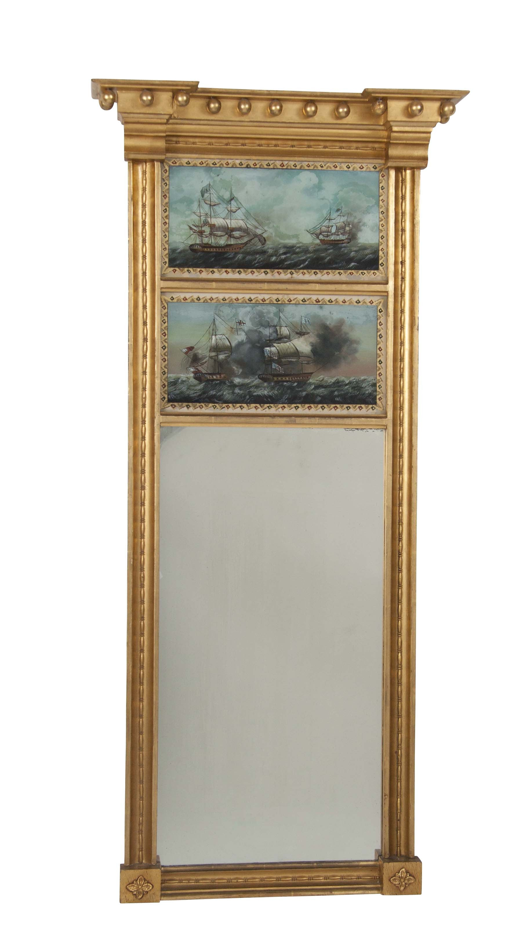 Federal Style Mirror Featuring Eglomise of USS Constitution and HMS Guerriere