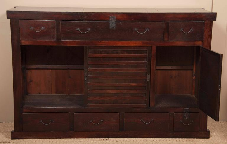 Large Japanese Tansu Cabinet Of Lacquered Wood And Waxed Steel