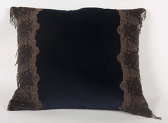 Navy Blue Velvet Pillow with Metallic Lace Decoration