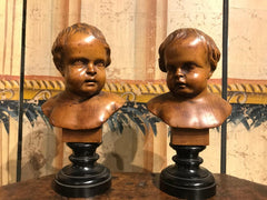 Pair of South German Carved Wood Busts of Putti