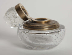 French Clear Bubble Glass Inkwell