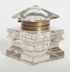 Cut Glass Inkwell With Glass Pyramid Lid