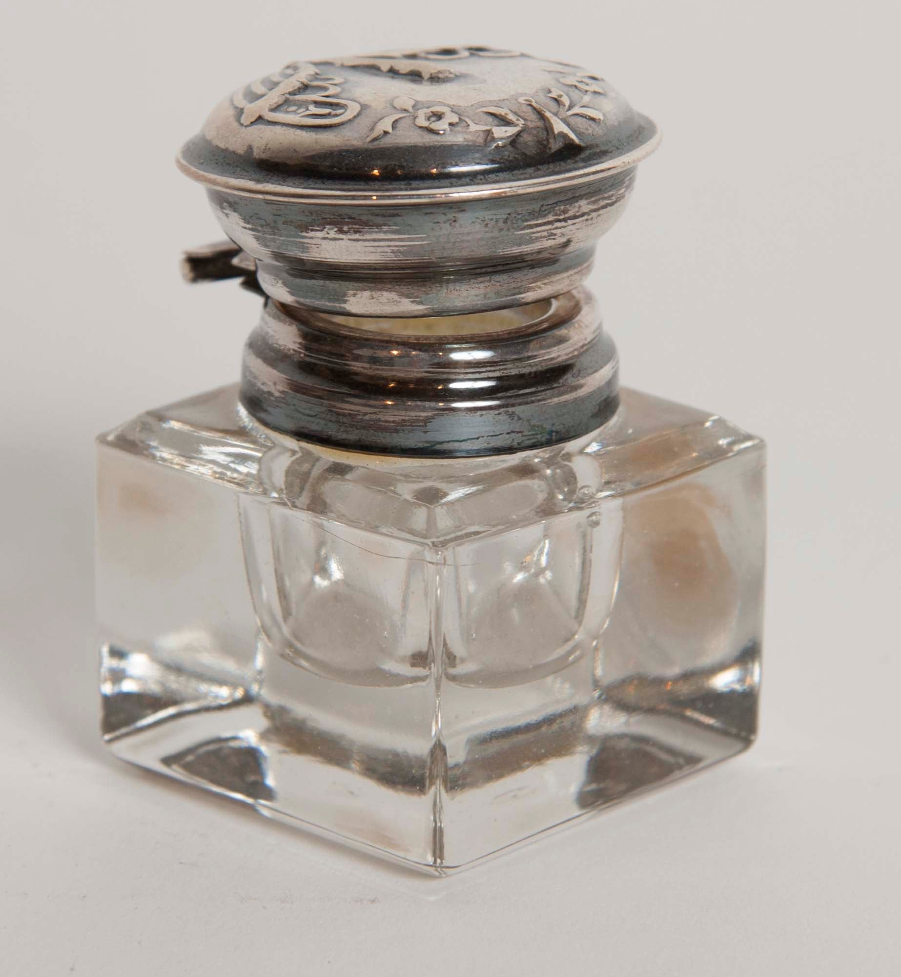 Cut Glass Inkwell With Sterling Lid