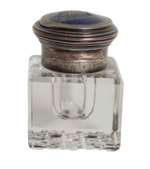 Small Cut Glass Inkwell With Enameled Lid