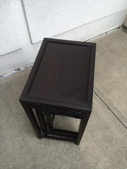 Chinese Black Lacquered Nest of Three Side Tables