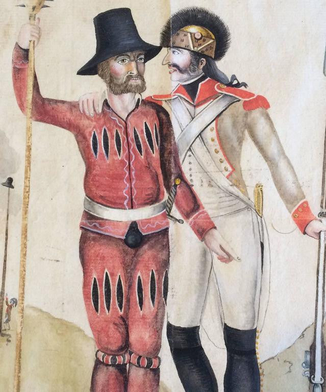 18th Century French or Swiss Military Watercolor, Signed and Dated