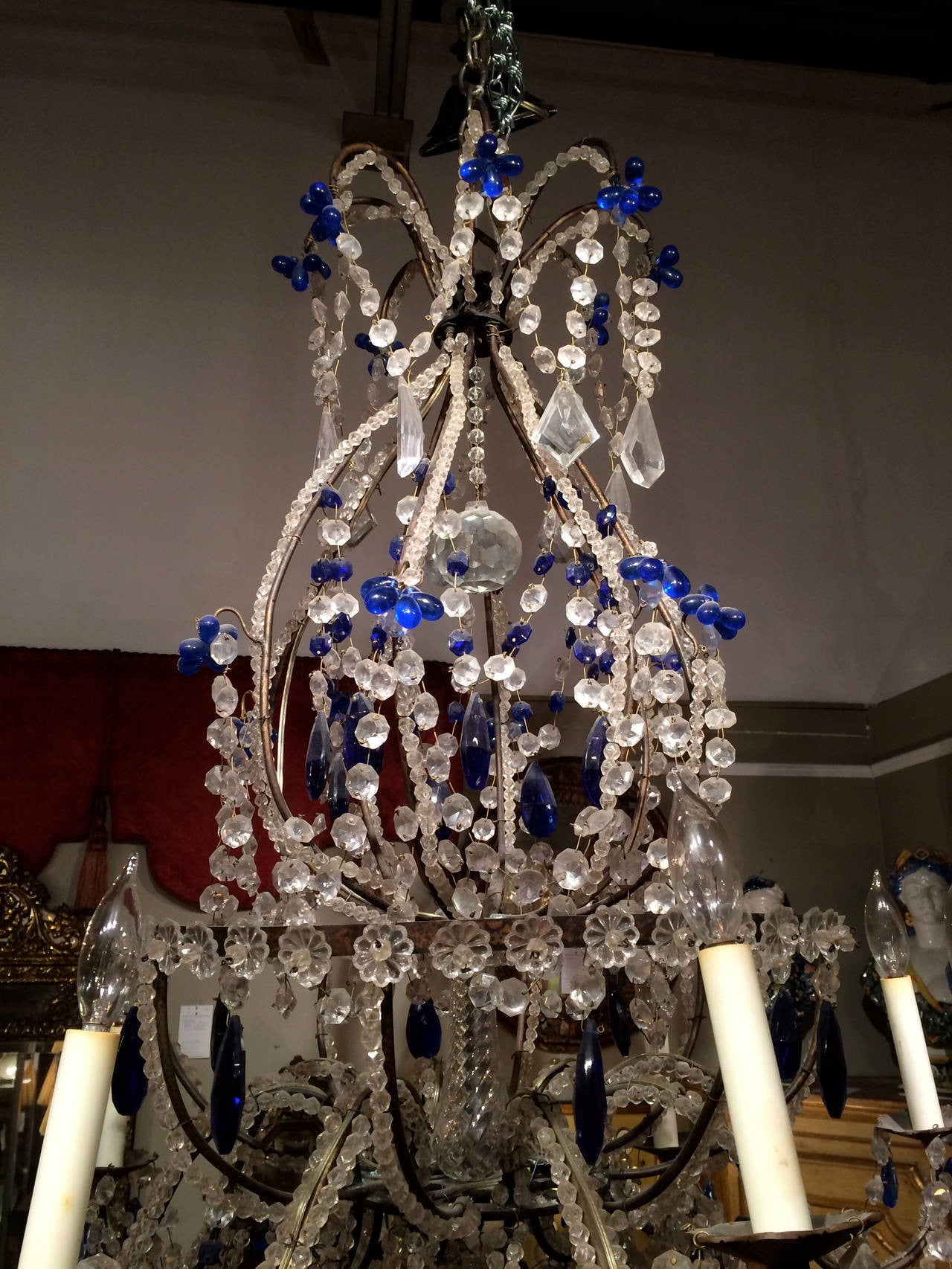 Venetian crystal and cobalt blue chandelier venetian crystal and cobalt blue chandelier aloadofball Choice Image