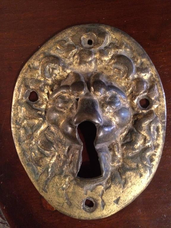 18th Century Gilt Bronze Lion Escutcheon