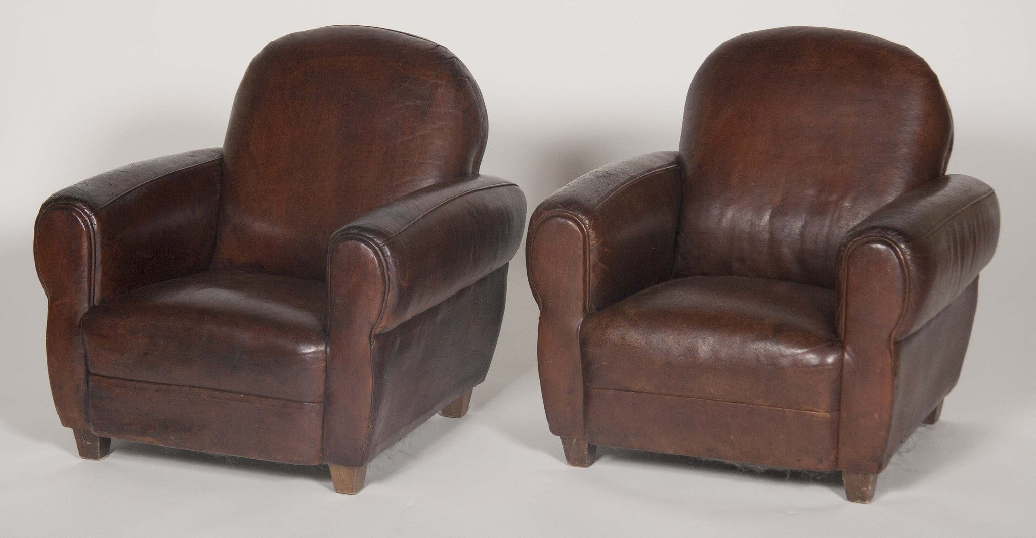 Rare Pair of Vintage Deco Leather Child's Chairs