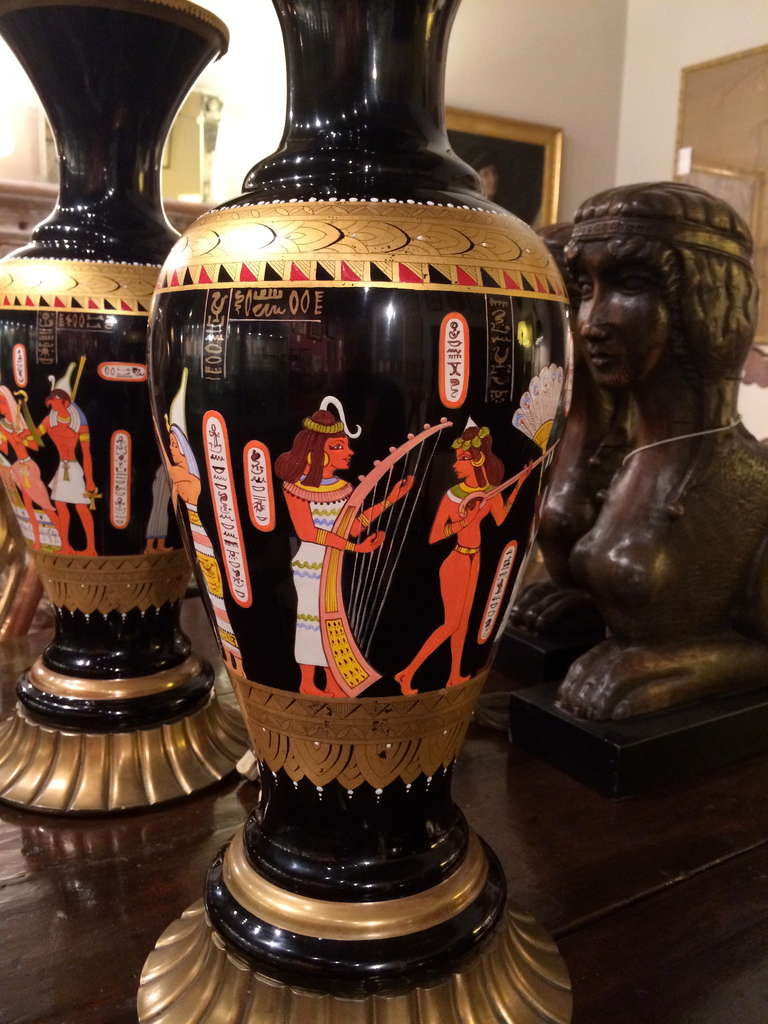 Pair Egyptian Revival Lamps