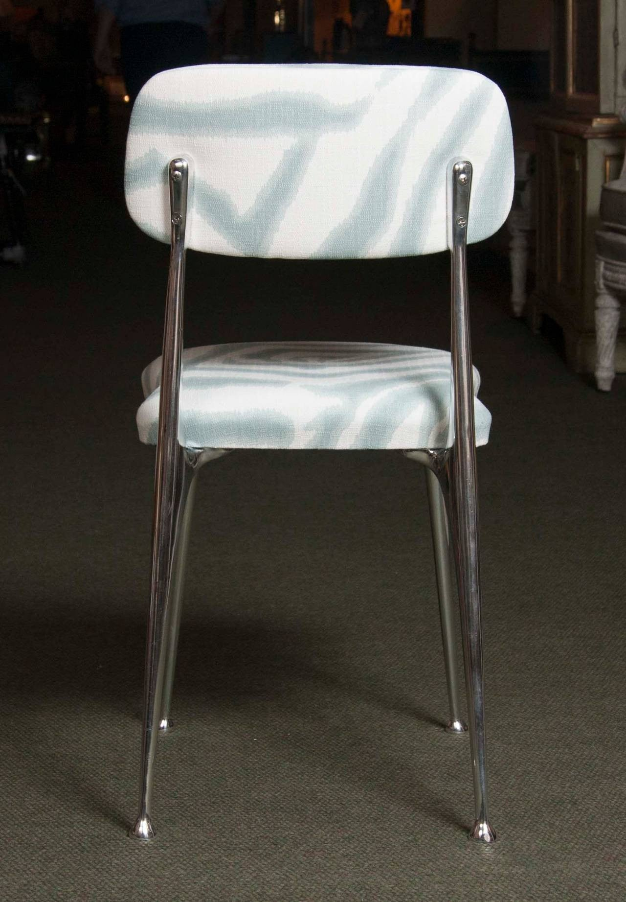 Set of 6 Polished Aluminum Dining Chairs by Shelby Williams