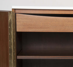 A Pair of Paul McCobb Bedside Tables with White Glass Tops
