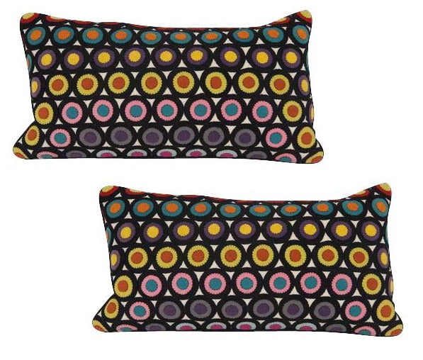 Pair of Vintage Penny Rug Wool Pillows