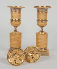 Pair of French Ormolu Bronze Cassolettes or Censers