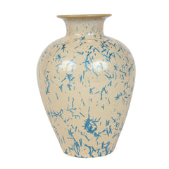 An American Terra Cotta Vase of Cobalt Blue Dash Design Over Tan Ground by Norweta