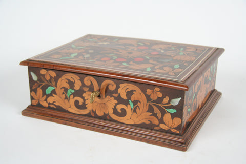 An Italian Polychrome Fruitwood Inlaid Rosewood Box
