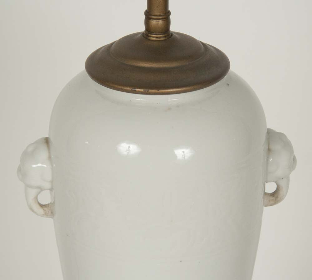 Chinese Dehua Porcelain Jar Mounted as a Lamp