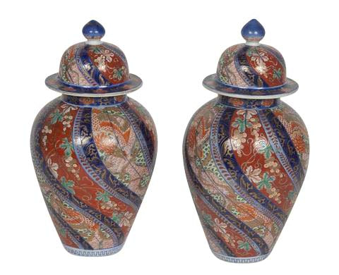 Pair of Japanese Imari Covered Jars