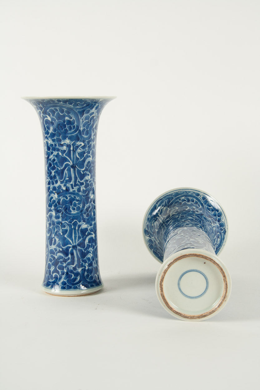 A Pair of Blue and White Chinese Trumpet Vases
